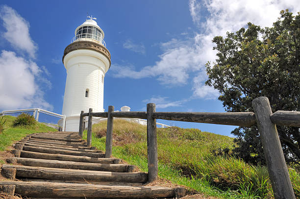The Cape Byron lighthouse with stairs (Australia) stock photo