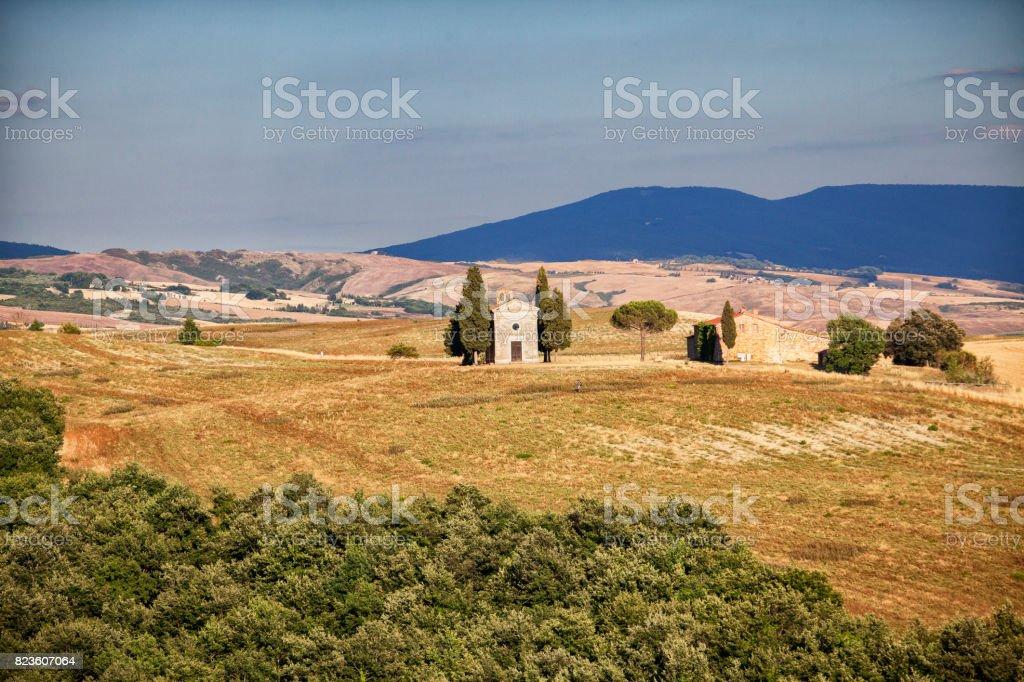 The Capella di Vitaleta in Tuscany, Italy stock photo