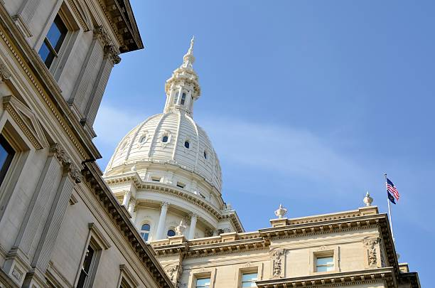 The capital building located in Lansing stock photo