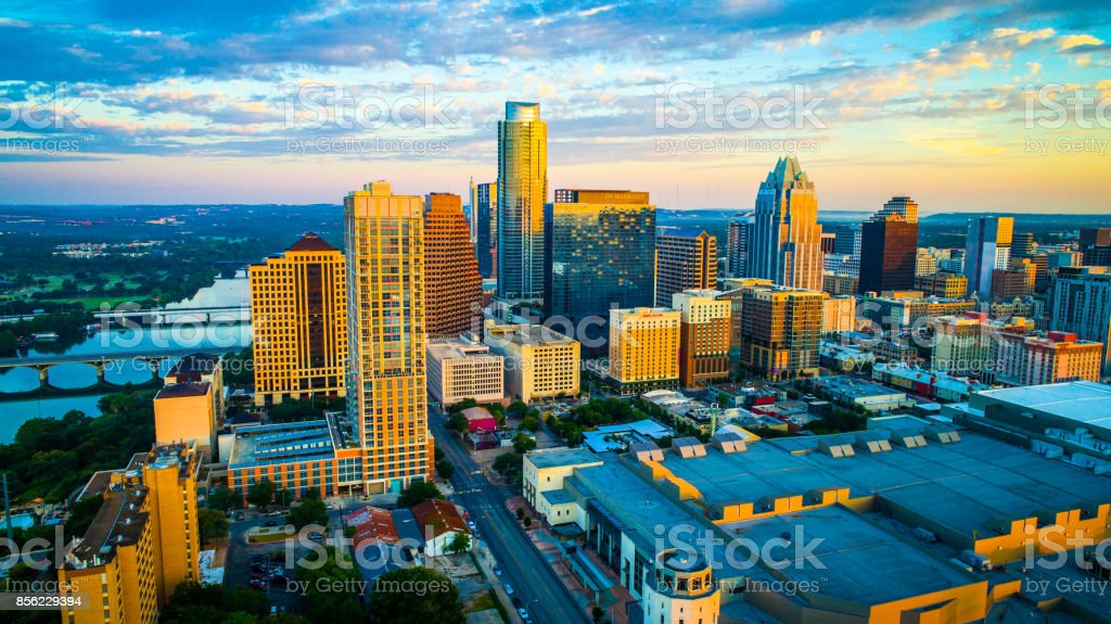 The Capital City of the Lone Star State Aerial Perfect view of Austin Texas stock photo