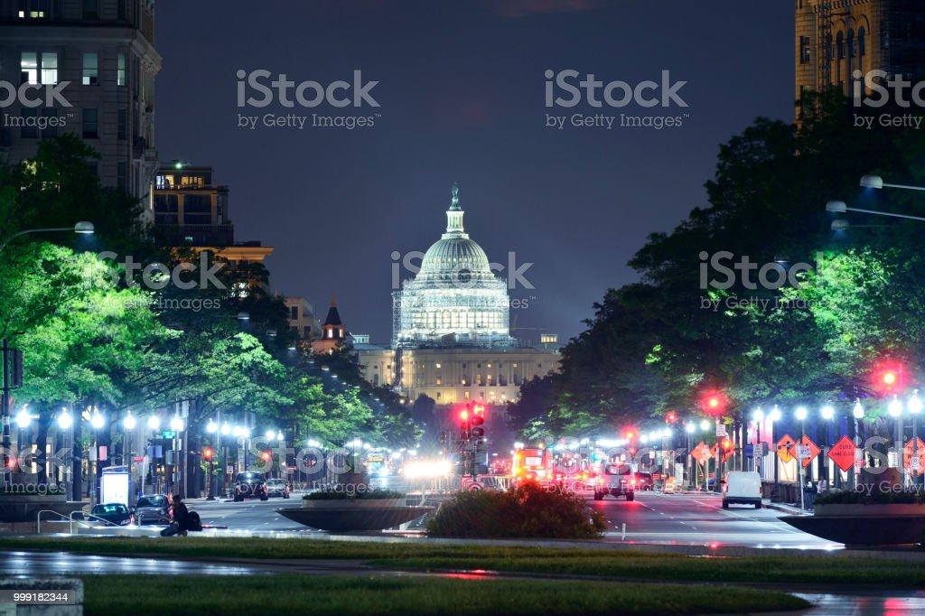 The Capitol Building and Washington DC's Cityscape, USA stock photo