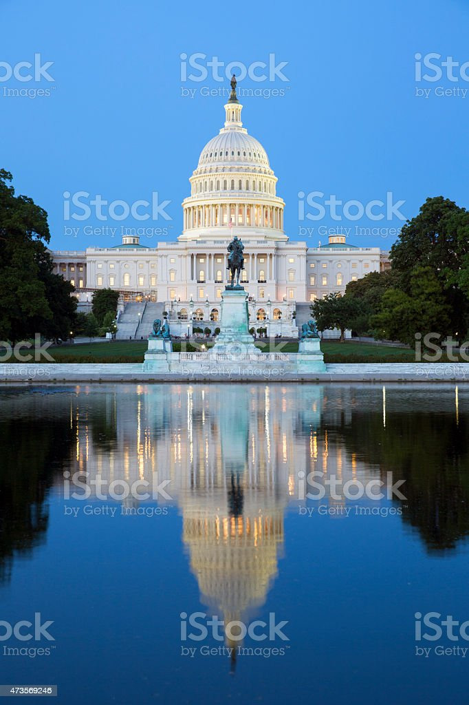 The Capitol Building at night. stock photo