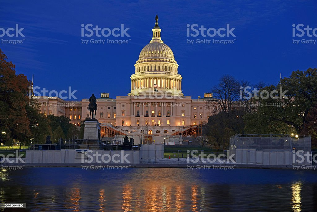 The Capitol Building in Washington DC at night stock photo