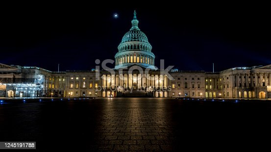 istock The capitol in Washington D.C., United States of America at a cold night in spring. 1245191788
