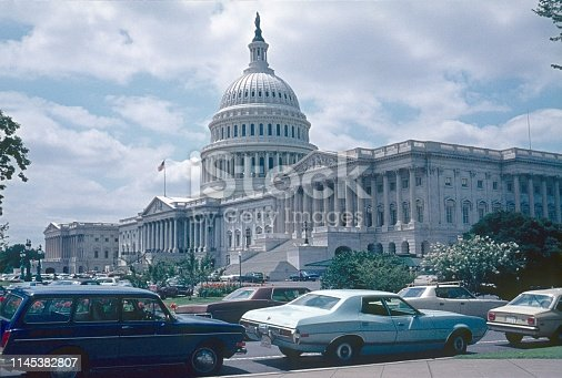 Washington DC, USA, 1977. The Capitol building from the outside.