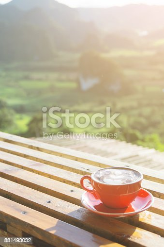 istock The cappuccino coffee in red cup put on the wooden table with beautiful mountain landscpe scenery and sun light in the morning. 881493032