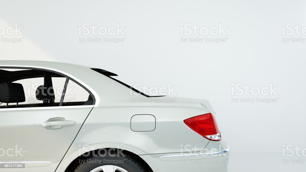 The car 3d rendering and White background stock photo