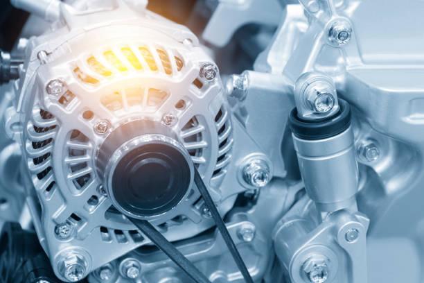 The car alternator in the light blue scene stock photo