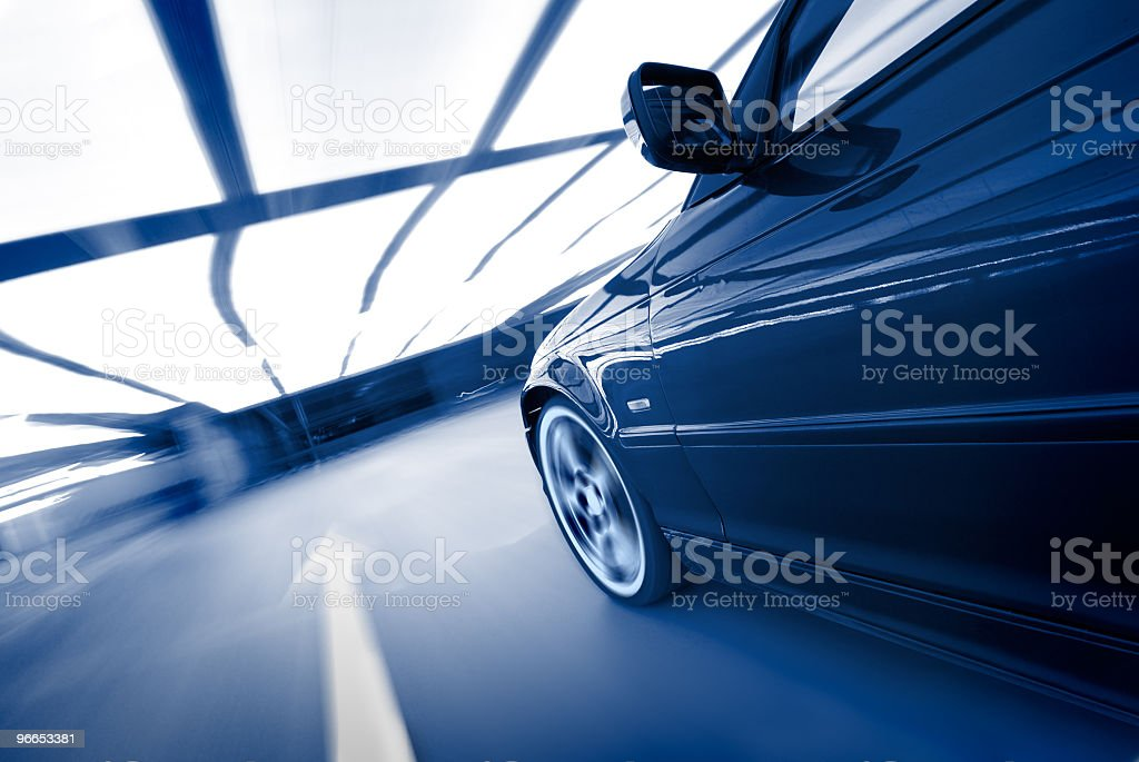 The car driving and going straight stock photo