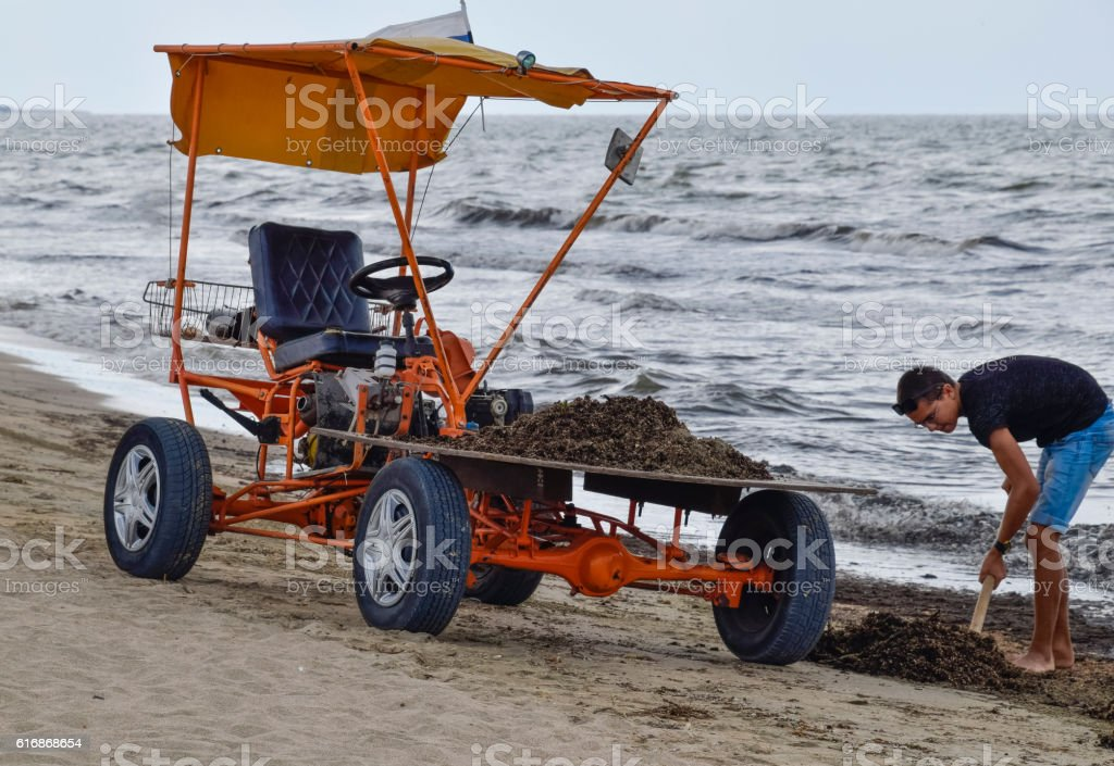 The car for garbage collection from the beach stock photo