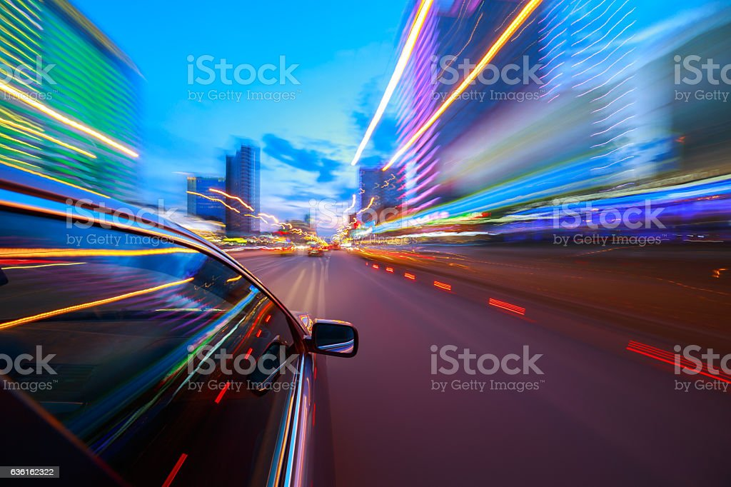 The car moves at the night. stock photo
