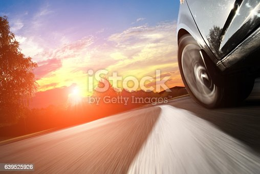 istock The car moves on fast speed at night. 639525926