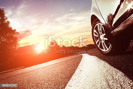istock The car moves on fast speed at night. 640042252