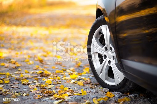 istock The car on the nature. Wheels and tyres closeup near autumn park 875427632
