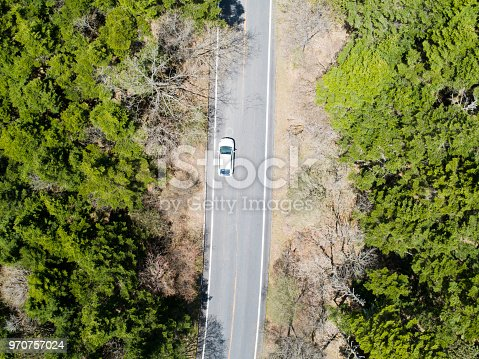 820775686 istock photo The car runs on the way in huge forest 970757024