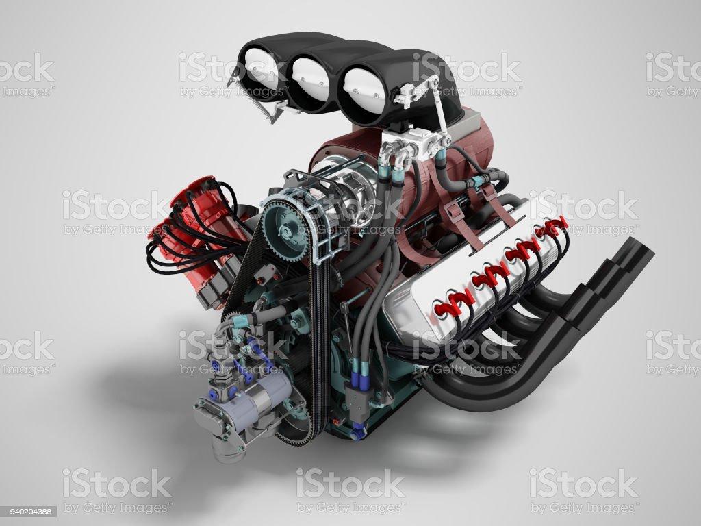 Die Auto-Turbo ist rot. blau. vordere Perspektive 3D-Rendering auf grauem Hintergrund mit Schatten – Foto