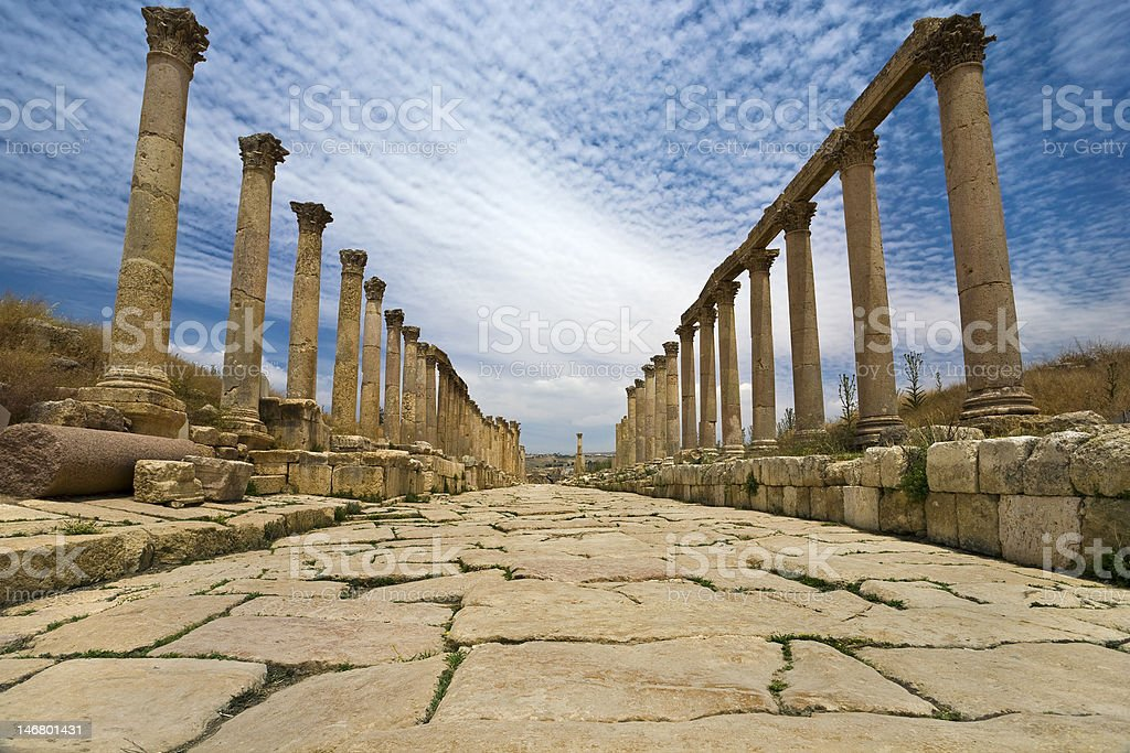The Cardo in Jerash royalty-free stock photo