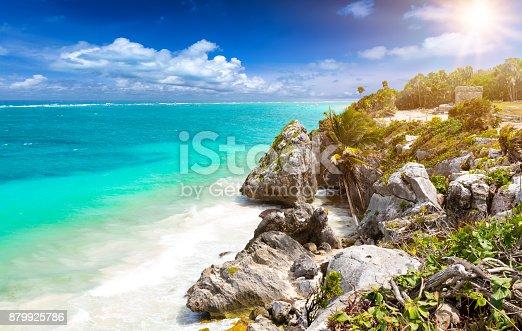 istock The caribbean coast of Tulum, Mexico 879925786