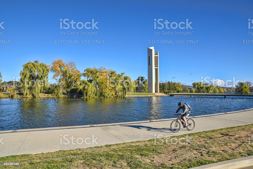 The Carillon stands on the island in Lake Burley Griffin stock photo