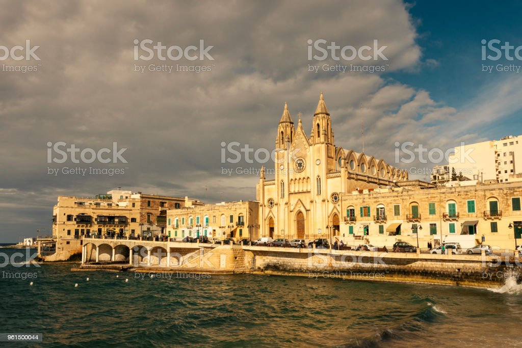 The Carmelite Church at sunset, Balluta Bay, St Julians, Malta stock photo
