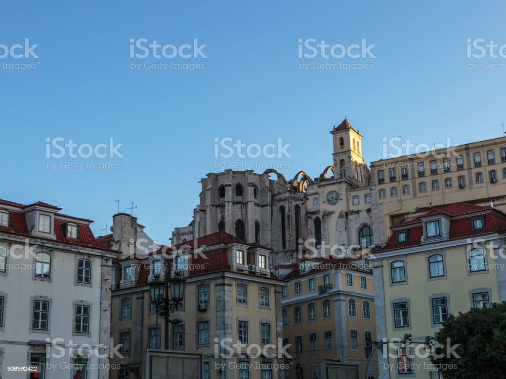 The Carmo Convent, Historical Building, Lisbon, Portugal stock photo