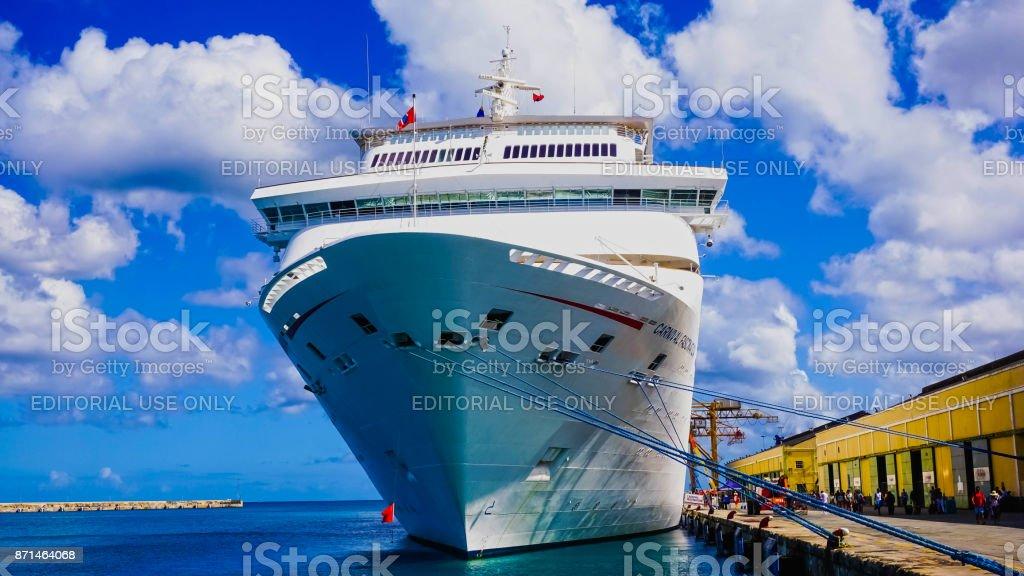 Barbados - May 11, 2016: The Carnival Cruise Ship Fascination at dock stock photo