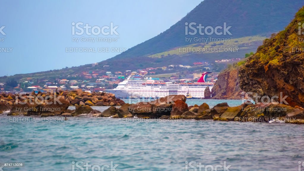 Federation of Saint Kitts and Nevis - May 13, 2016: The Carnival Cruise Ship Fascination at dock stock photo