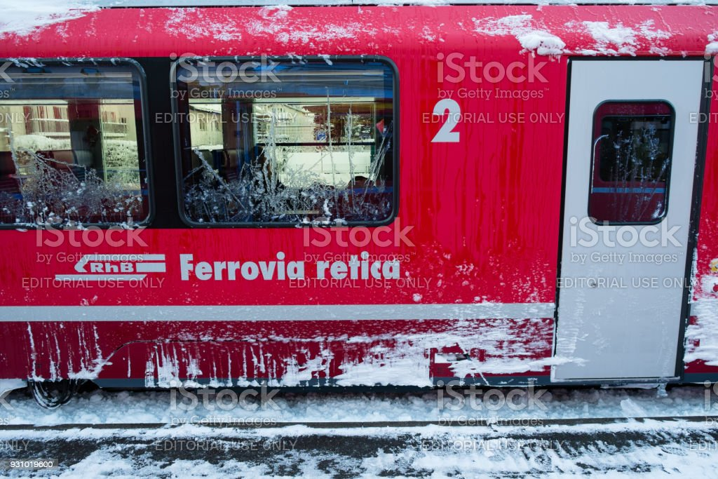 The carriage of the Bernina Express train stock photo