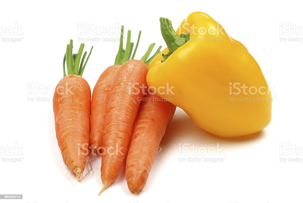 The carrots and pepper on white royalty-free stock photo
