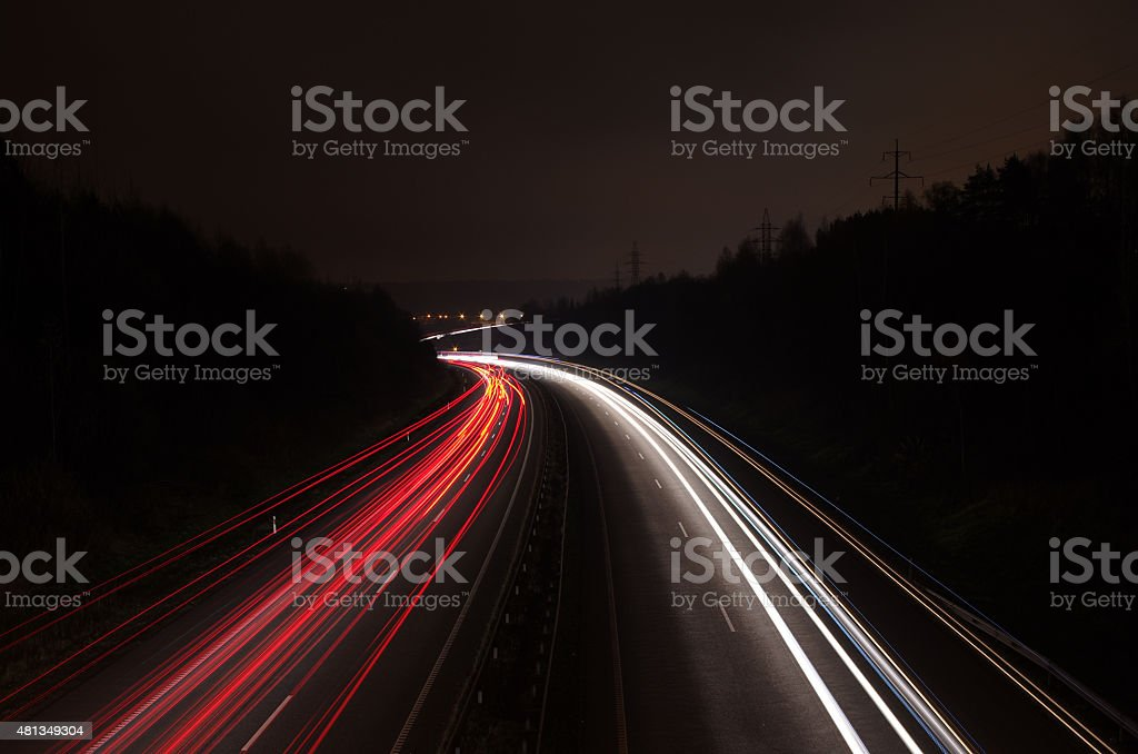 the car's light trails on the street long exposure stock photo