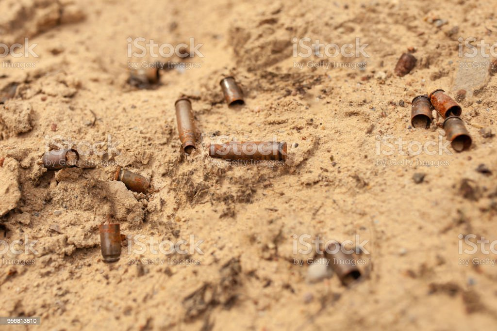 The cartridges from the cartridges lie in the sand stock photo