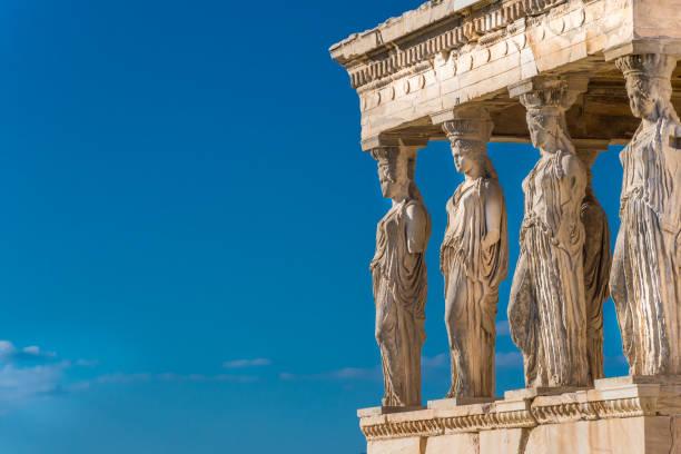 The Caryatids of the Erechtheion in Acropolis Athens Greece. stock photo