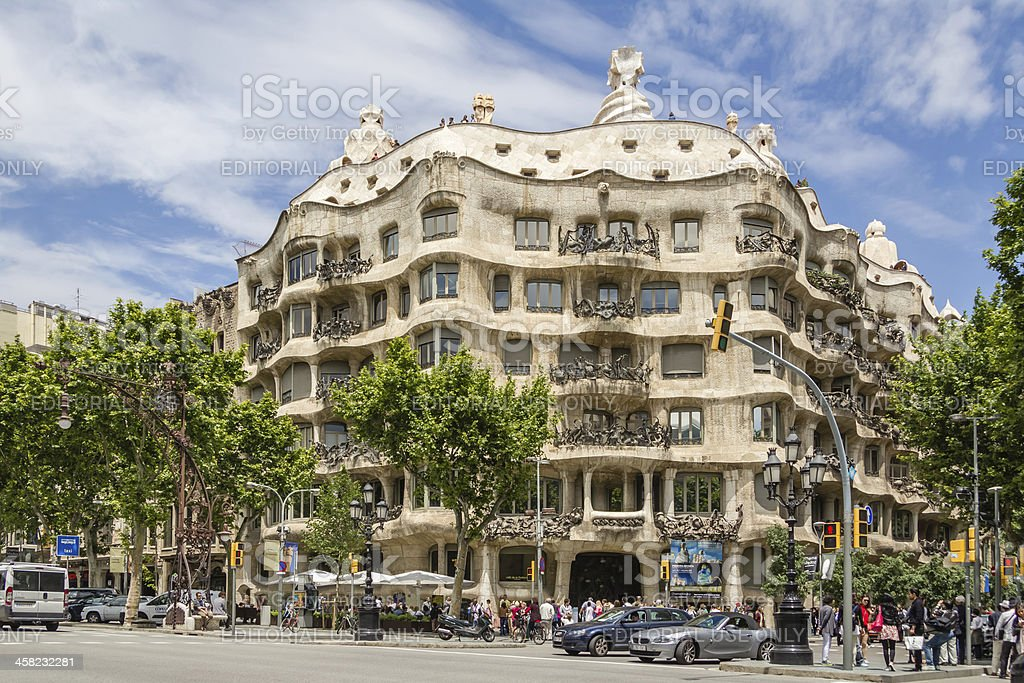 The Casa Mila, better known as La Pedrera, in Barcelona stock photo