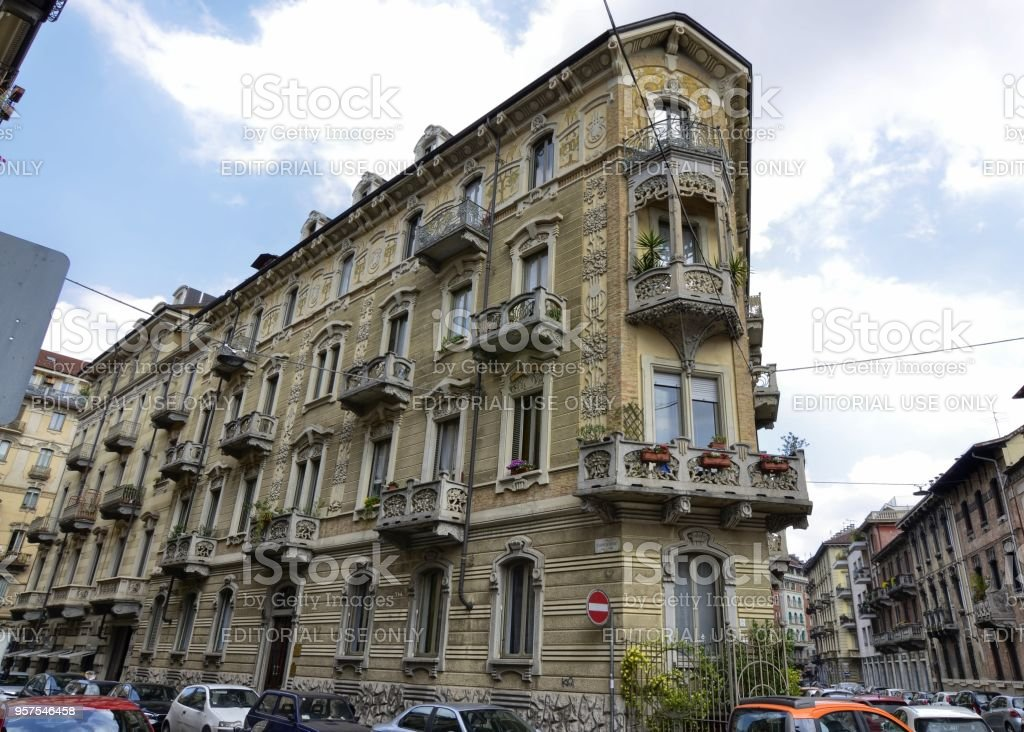 The Casa Tasca, by Giovan Battista Benazzo, who was occupied between 1902 and 1903 building of this building. Stately home, example of the Art Nouveau style of Turin. stock photo