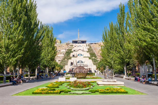 The Cascade, Yerevan YEREVAN, ARMENIA - SEPTEMBER 28, 2015: The Cascade is a giant stairway in Yerevan, Armenia. yerevan stock pictures, royalty-free photos & images