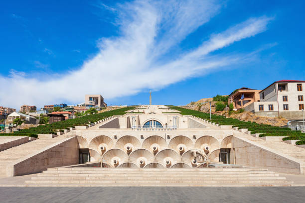 The Cascade, Yerevan YEREVAN, ARMENIA - SEPTEMBER 28, 2015: The Cascade is a giant stairway in Yerevan, Armenia. Inside Cascade is located the Cafesjian Museum of Art. yerevan stock pictures, royalty-free photos & images