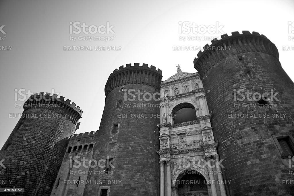 The Castel Nuovo (Maschio Angioino) of Naples (Campania, Italy) stock photo