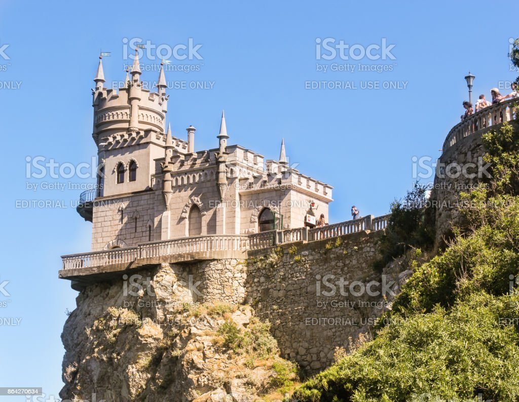 The castle is illuminated by the sun. stock photo