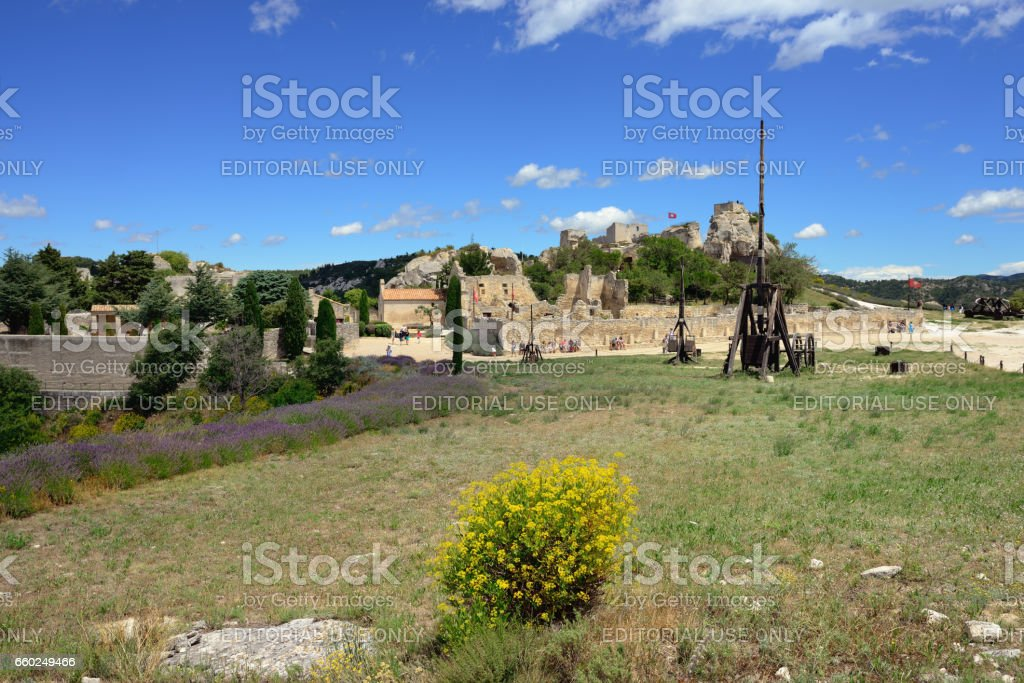 Les Baux castle stock photo