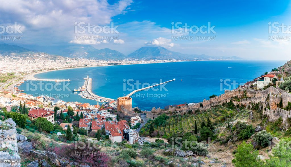 The castle of Alanya in Turkey stock photo