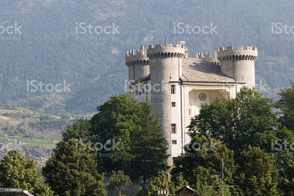 The castle of Aymavilles stock photo