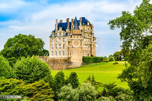 Loire Valley, France - May 26, 2018: The Castle of Brissac, a renaissance castle rebuilt in the 15th century by one of the ministers to King Charles VII, situated in Brissac-Quince, nearby Angers.