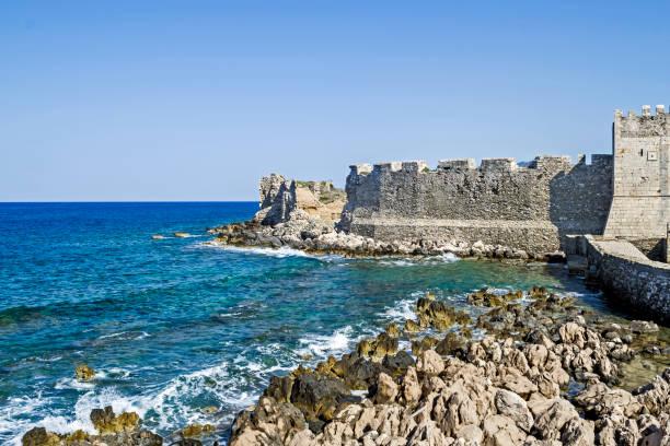 the castle of Methoni Messenia Peloponnese Greece - medieval Venetian fortification stock photo