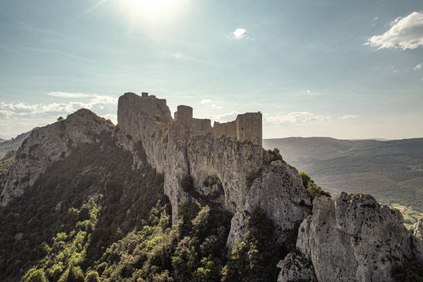 The castle of Peyrepertuse France stock photo
