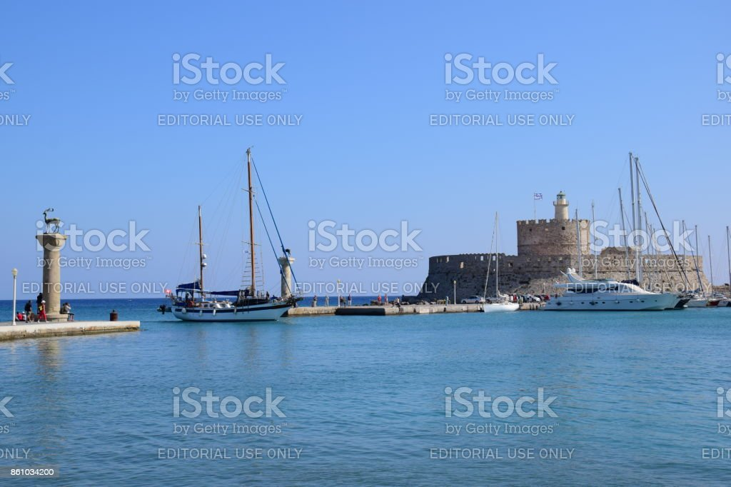 The Castle of Rhodes Town stock photo