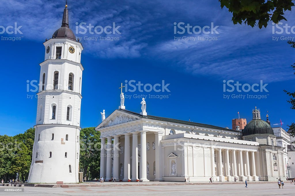 The Cathedral and belfry tower, Lithuania stock photo