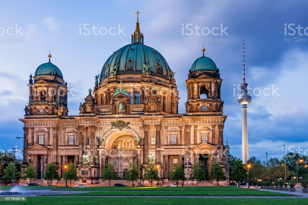 The Cathedral and Fernsehturm in Berlin Germany stock photo
