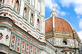 Florence, Italy, March 20 - A view of the Cathedral and the dome of Santa Maria del Fiore, by Brunelleschi, also known as the Duomo of Florence, one of the most visited places in Italy and in the world. The Duomo is the third Cathedral in Europe, after St. Peter's in Rome and St. Paul's in London. The construction work began in 1296, while the consecration of the temple took place in 1436.