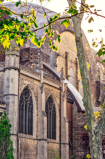 Detail of the back-facade of Cathedral Church of St. John the Divine, located at Harlem, New York, taken on a beautiful sunset on spring from Morningside Dr.