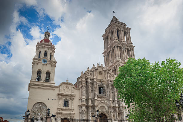 The Cathedral de Santiago in Saltillo, Mexico This is the very lovely Catedral de Santiago.The front facade is very exuberant and baroque. It has beautifully carved heavy wooden doors in the front. Inside the church has a single aisle and is mostly neo-classical with a central dome and real transepts. In the transepts, however, the neo-classical gives way to more baroque with gilded altars. coahuila state stock pictures, royalty-free photos & images